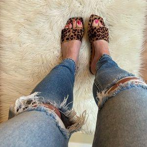 Trendy Square Toe Leopard Print Sandals